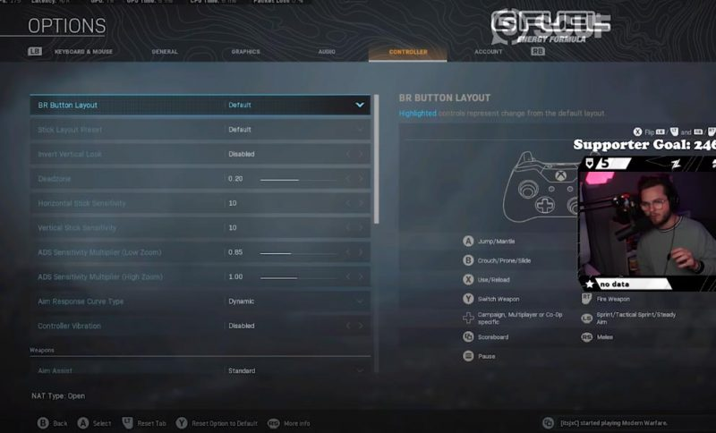 zlaner controller settings for warzone